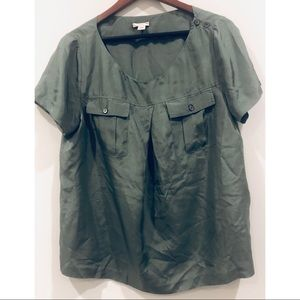 J. Crew Short Sleeved Silk Blouse